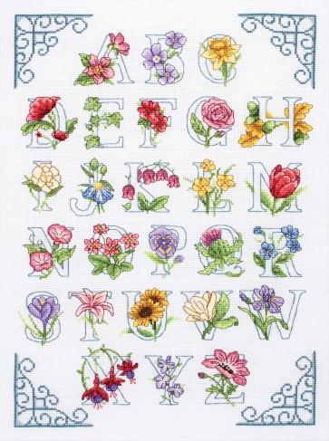 Anchor Cross Stitch Kit - Celebration Kits - Floral Alphabet