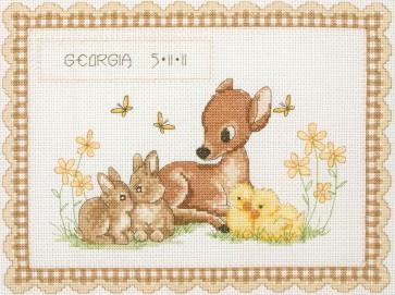 Anchor Cross Stitch Kit - Celebration Kits - Baby Animal Birth Record