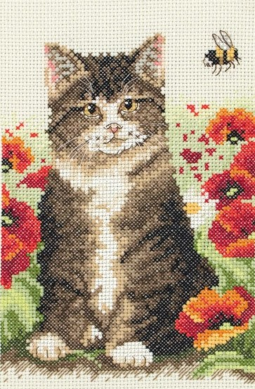 Anchor Cross Stitch Kit - Cat Cross Stitch Kits - Cat And Bee