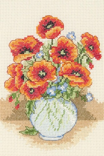 Anchor Cross Stitch Kit - Floral Cross Stitch Kits - Poppy Vase