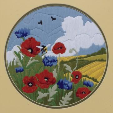 Anchor Long Stitch Kit - Poppies & Cornflower
