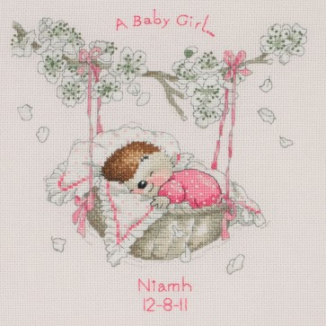 Anchor Cross Stitch Kit - Country Companions Kits - Moses Basket Birth Sampler
