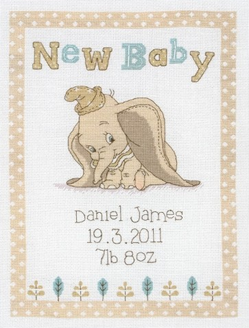 Anchor Cross Stitch Kit Disney Kits Dumbo Birth Sampler