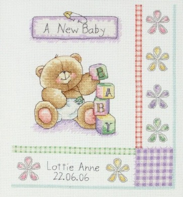 Anchor Cross Stitch Kit - Forever Friends Kits - Birth Record