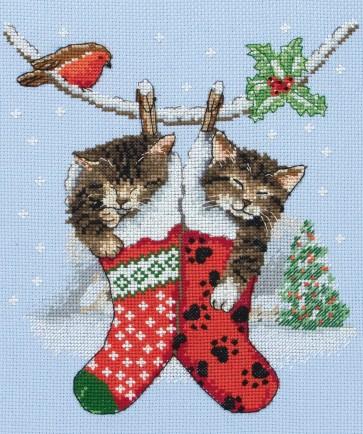 Anchor Cross Stitch Kit - Cat Kits - Christmas Kittens