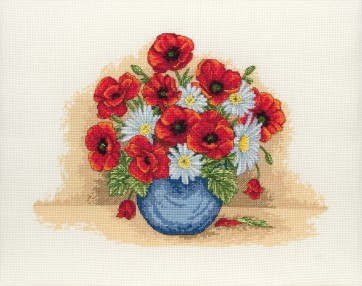 Anchor Cross Stitch Kit - Floral Kits - Poppy Spray