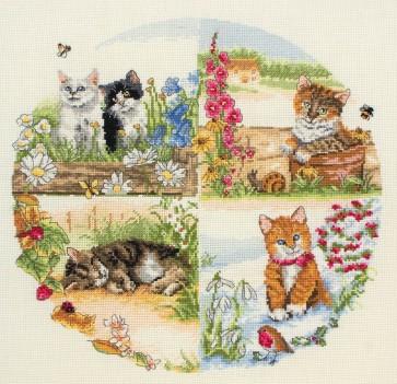 Anchor Cross Stitch Kit - Cat Kits - Cats And Seasons