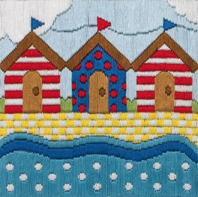 Anchor Long Stitch Kit Beach Huts