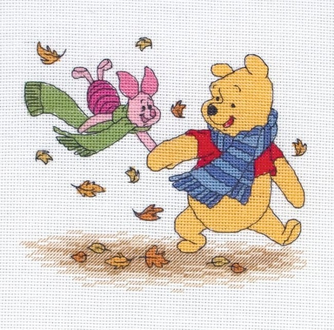 Anchor Cross Stitch Kit Winnie The Pooh Kits Autumn Leaves