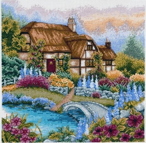 Anchor Cross Stitch Kit Cottage Kits Waterbridge Garden