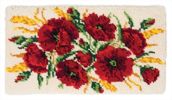 Anchor Latch Hook Rug Kit Poppies